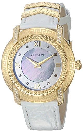Versace Women's 'DV-25' Swiss Quartz Stainless Steel and Leather Casual Watch, Color:White (Model: VAM060016) by Versace