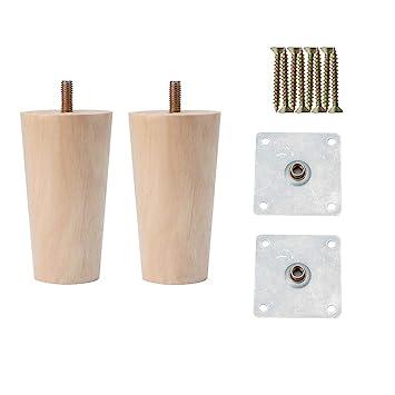 Sourcingmap - Juego de 2 patas de madera maciza redondas ...