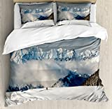 Winter Duvet Cover Set King Size by Ambesonne, Panoramic View on Mountains and Two People Walking in French Alps Hiking Travel, Decorative 3 Piece Bedding Set with 2 Pillow Shams,