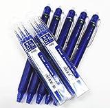 Pilot Frixion Ball Knock Retractable Erasable Gel Ink Pens,fine Point, - 0.5 mm - Blue Ink- Value Set of 5 & 6 Gel Ink Pen Refill Pack