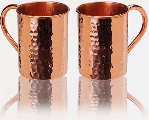 Brass Copper Tin (23oz. Jumbo Moscow Mule Hammered Copper Mugs - Set of 2 - 100% Solid Copper - Keskov Authentic - Large -No Rivets - No Inner Lining - Dimpled Tall Handcrafted)