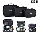 BUBM Waterproof Portable Electronic Accessories Travel Organizer Case Multi-functional Digital Storage Makeup Cosmetic Carrying Bag (Black, 3pcs/set)