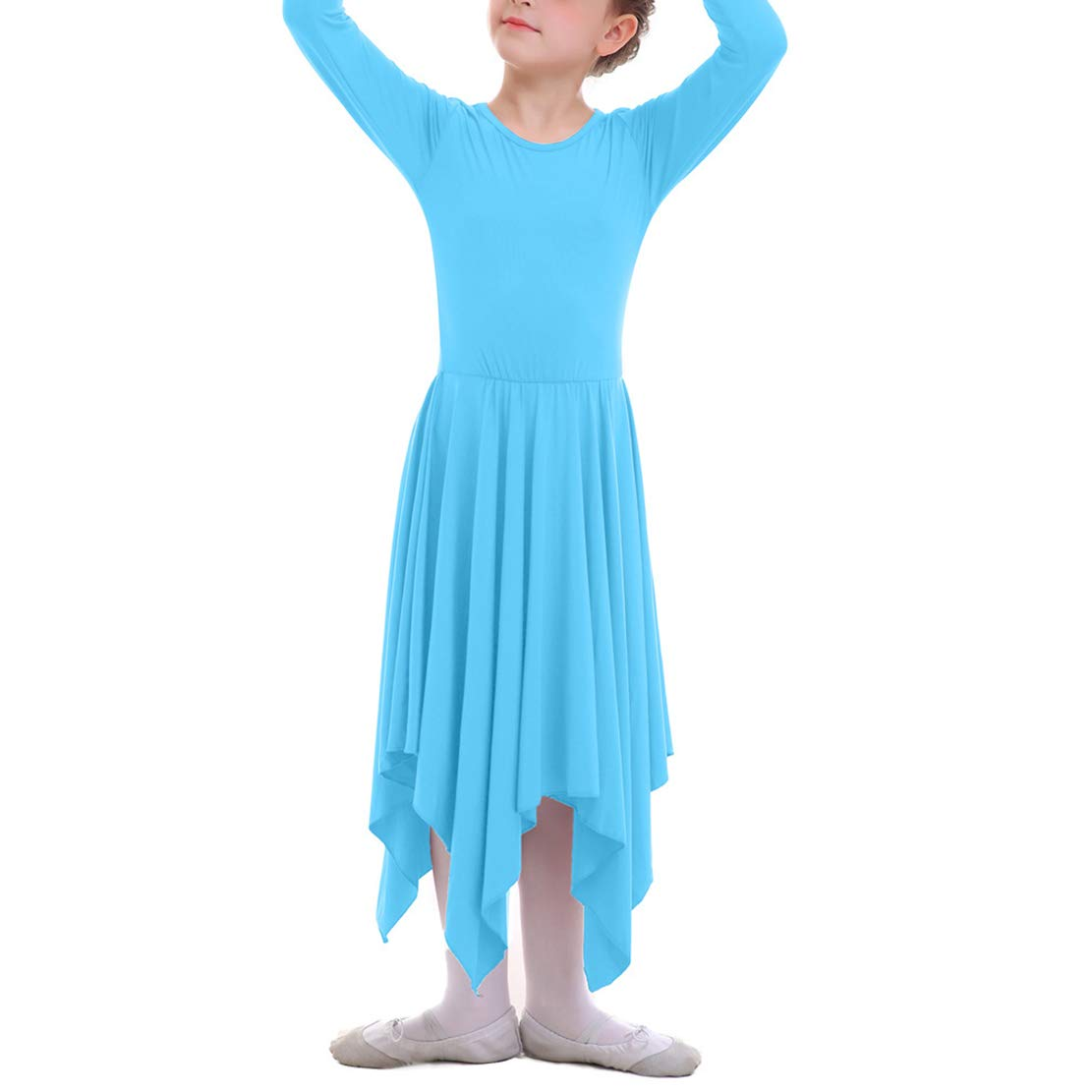 Vestidos Danza Cristiana Maillot Larga para Mujer Ni/ñas Chica Disfraz Bailarina Actuaci/ón Fiesta Manga Larga Lit/úrgico Leotardo Asim/étrico Gimnasia Elegante Ropa