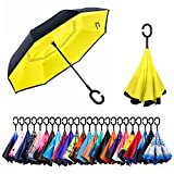 NewSight Reverse/Inverted Double-Layer Waterproof Straight Umbrella, Self-Standing & C-Shape Handle & Carrying Bag for Free Hands, Inside-Out Folding for Car Use (Yellow Idea)