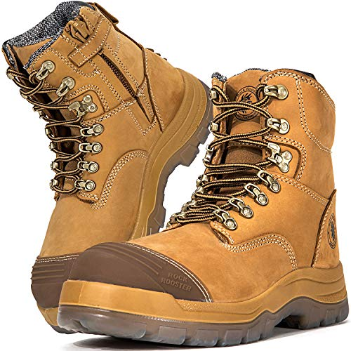 ROCKROOSTER Work Boots for Men, 8 inch, YKK Zipper, Steel Toe, Slip Resistant Safety Oiled Leather Shoes, Static Dissipative, Breathable, Quick Dry, Anti-Fatigue(AK232Z 12)