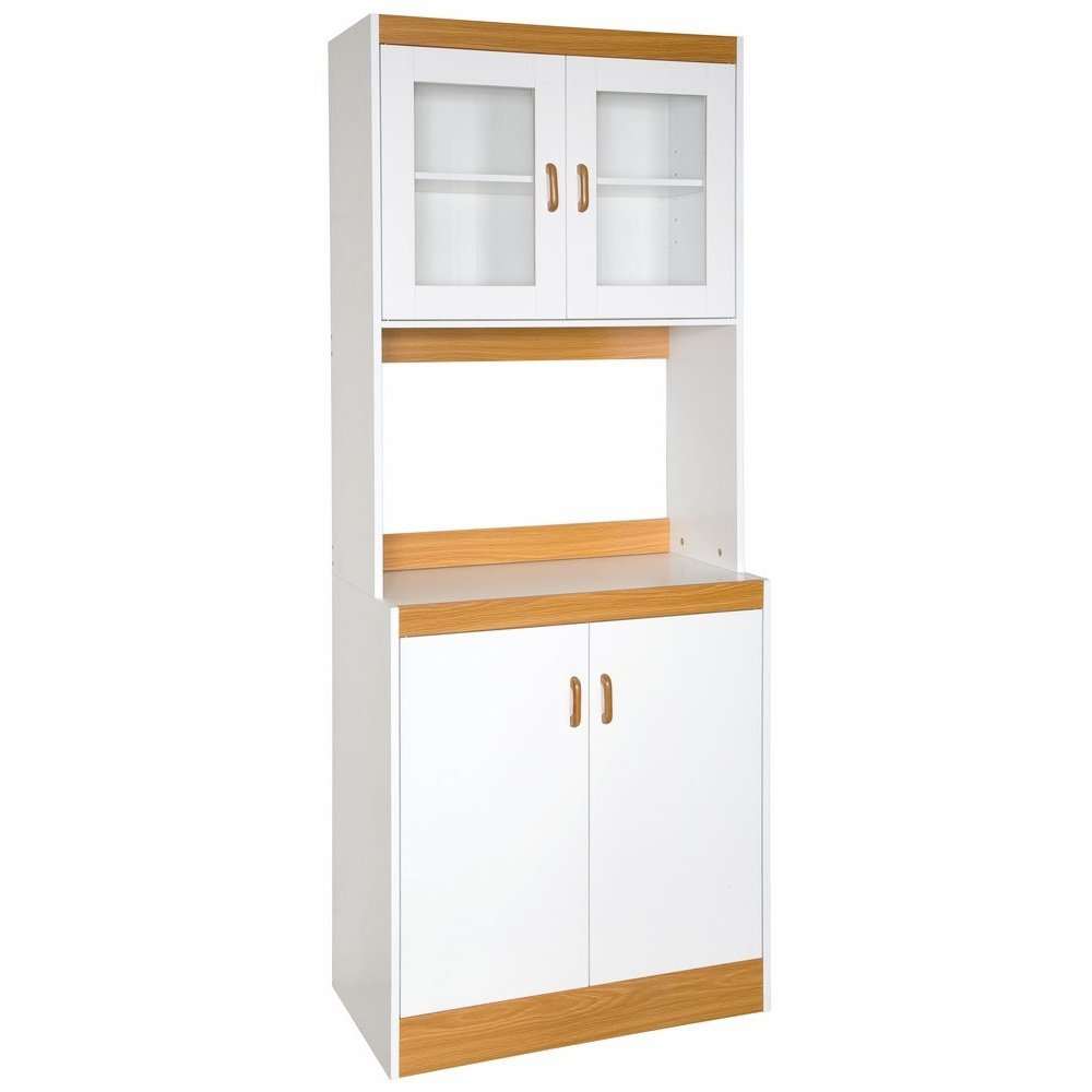 Home Source Industries - 153BRD - Tall Kitchen Microwave Cart - Cabinets, Shelf and Glass Doors - White with Light Wood Trim by Home Source Industries