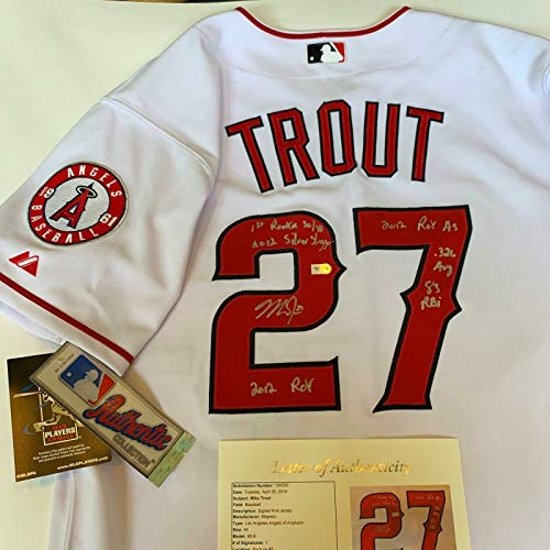 (Magnificent Mike Trout Signed Heavily Inscribed Anaheim Angels Jersey JSA)
