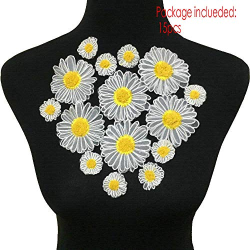 25pcs Daisy Flowers Embroidered Sew On Applique Floral Lace Patch Milk Fiber Sewing Trims Clothes Wedding Dress Craft DIY (Color B) ()