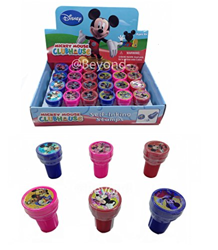 Disney Mickey Mouse Self-inking Stamps Birthday Party Favors 24 Pieces (Complete Box) - Mickey Stamps