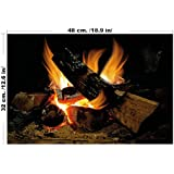 Decorative Fire, Vintage Fake Burning Logs, Wall Art Interior Design Decal - Large Size Custom Sizing Available