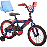 16 Inch Huffy Marvel Spiderman Kids Bike for Boys, Red with Training Wheels and Cleaner Cloth