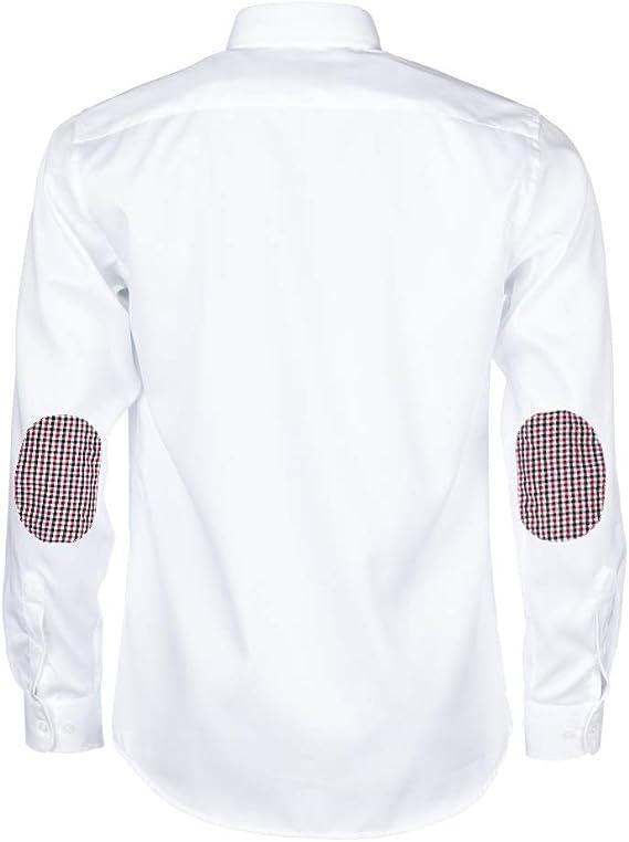 ALLBOW Camisa Blanca para Hombre Formal Regular Fit con Parches en ...