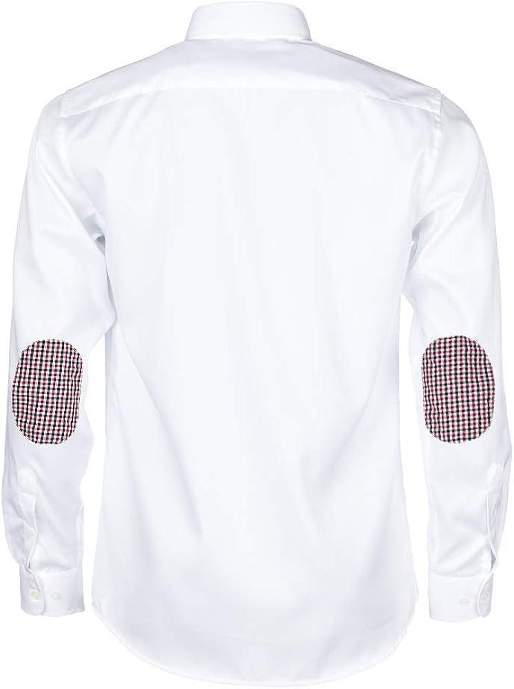 ALLBOW Camisa Blanca para Hombre Formal Regular Fit con Parches en los Codos, 100% algodón: Amazon.es: Ropa y accesorios