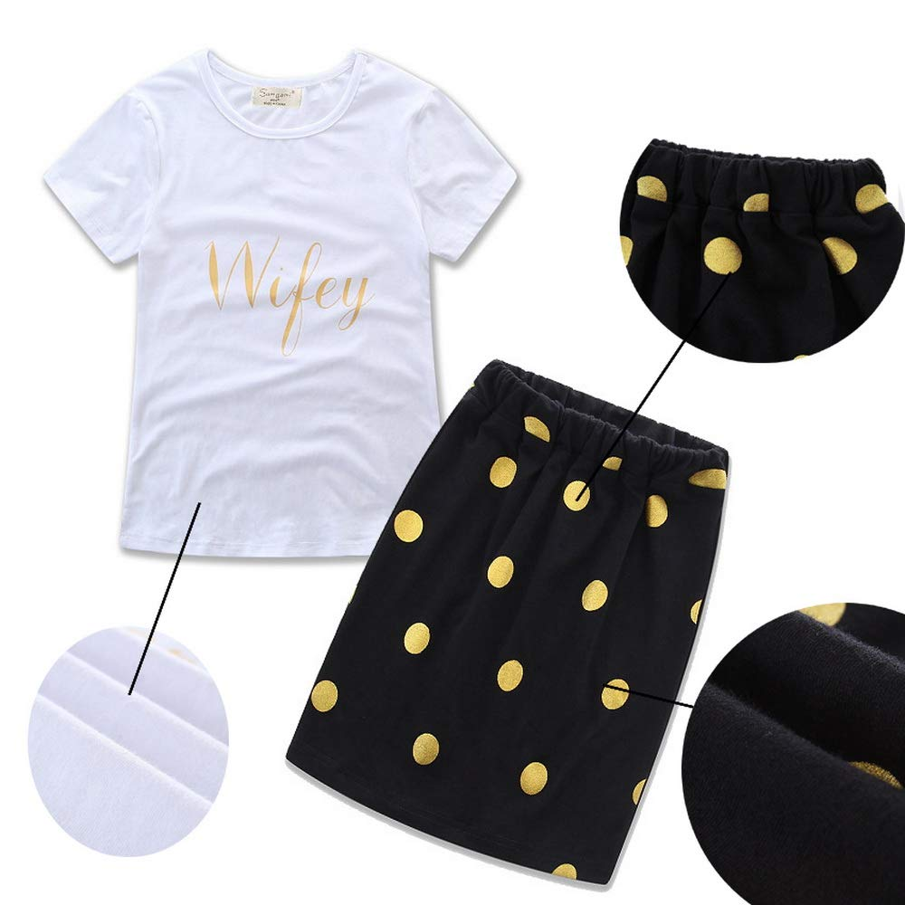 Fribro Summer Skirt Suit Maternal and Female Dresses Parent-Child Dresses Punctuated Alphabetic Skirt Suits