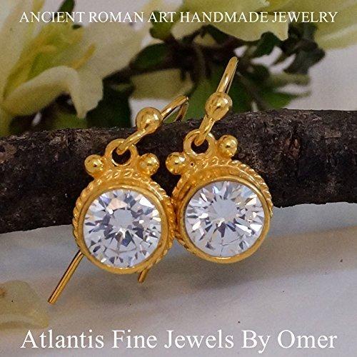 White Topaz Hook Earrings 925 Sterling silver 24k Gold Vermeil Handmade By Omer