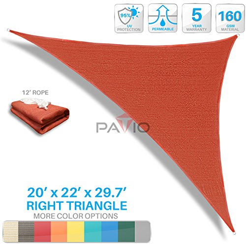 Patio Paradise 20'x22'x29.7' Red Sun Shade Sail Right Triangle Canopy - Permeable UV Block Fabric Durable Patio Outdoor - Customized Available by Patio Paradise
