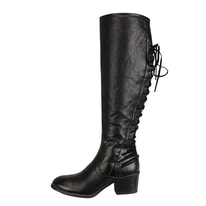 QUICKLYLY Botas de Mujer,Botines para Adulto,Zapatos Otoño/Invierno 2018, Moda De Cuero con Cordones De Tacón Alto De Rodilla Sexy: Amazon.es: Ropa y ...