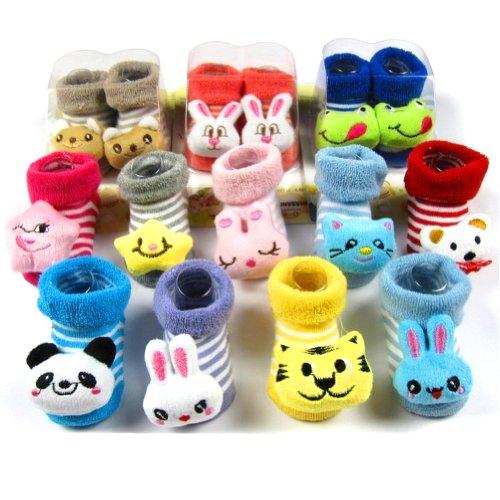 3 пары LOCOMO Детские младенческой Малыш Мальчик в девочке 3D мультфильм животных Unisex носки Тапочки Обувь / 0-6 месяца / Размер 7-9 см / FBA014