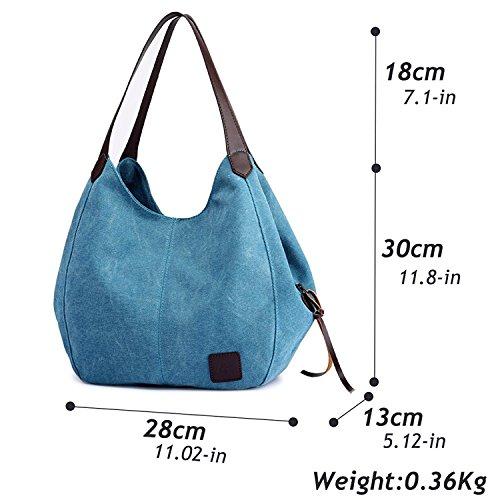 Fashion Women's Multi-pocket Cotton Canvas Handbags Shoulder Bags Totes Purses (1317 blue) by YZHYXS (Image #3)