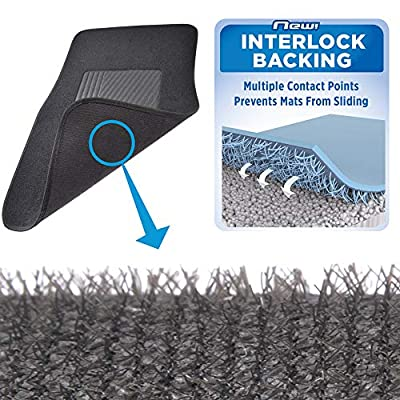 BDK InterLock Car Floor Mats - Secure No-Slip Technology for Automotive Interiors - 4pc Inter-Locking Carpet (Black) (826942129223): Automotive