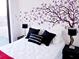 Pop Decors ''Dark Brown/Lavender/Lilac Go Left Cherry Blossom Tree'' Beautiful Wall Stickers for Kids Rooms