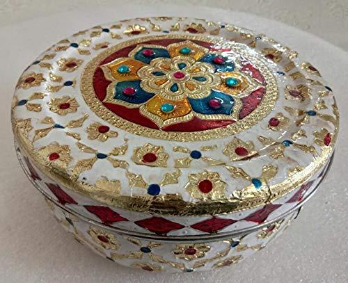 (hpCreations Decorative Holiday Stainless Steel Round Meenakari Cookie Tin/Puri Dabba (White))