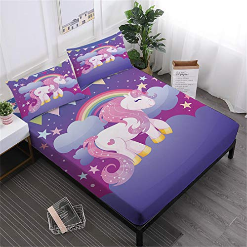 Oliven 3D Cartoon Unicorn Sheets Queen Size,Fitted Sheets Set Queen Size,Bed Sheets Queen Purple Bedding Set 4 Pieces Girls Gift Home Decor (Bed Pony For Queen Set Bed)