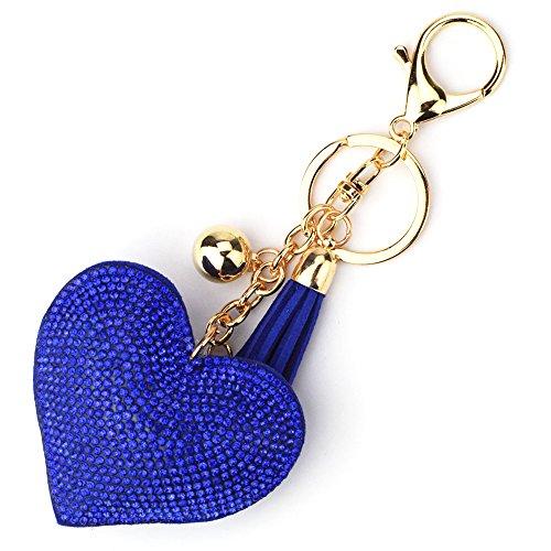 Elesa Miracle Girl Women Love Heart Tassel Keychain, Purse Bag Charm, Handbag Accessories, Car Key Chain (Dark Blue)