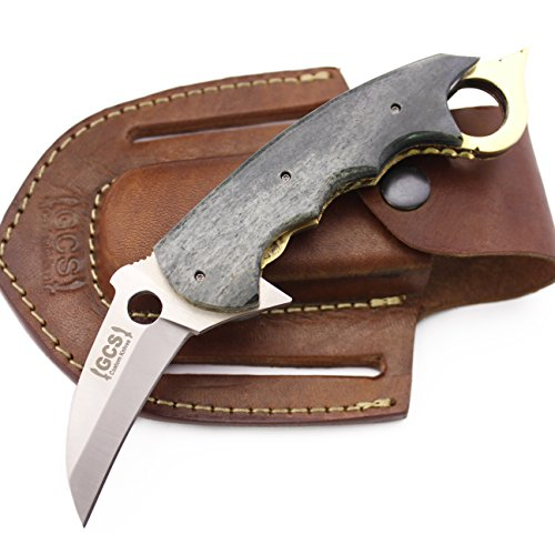 GCS Custom Handmade Coloured Bone Handle D2 Tool Steel KUKRI TRACKER Folder Knife & Buffalo Hide Sheath 191