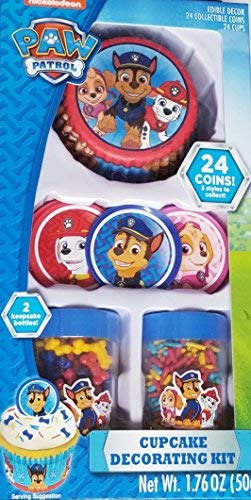 Paw Patrol Cupcake Toppers, Liners, Sprinkles, with Collectible Coins to Give as Party Favors-This Cupcake Decorating Kit has 24 Cupcake Liners and will Decorate 24 Cupcakes with 24 Party - Liner Paws