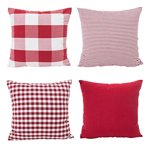 (Hoplee Buffalo Check Pillow Covers Red and White Ticking Stripe Plaid Gingham Pattern Geometric Pillow Cover Set of 4 18x18 Inch)
