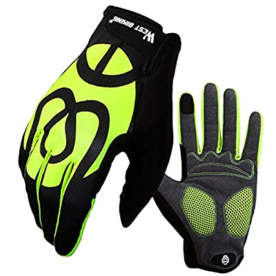 West Biking Touch Screen Cycling Gloves for Men Women,Anti-slip Shock-absorbing Mountain Bike Cycle BMX Full Finger Gloves Windproof Silicone Gel Pad Road MTB Riding Gloves