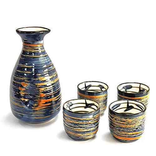 Sake Set Japanese Sake Cup Set Traditional Hand Painted Design Porcelain Pottery Ceramic Cups Crafts Wine Glasses 5 Piece (Blue Rich) Design Hand Painted Porcelain