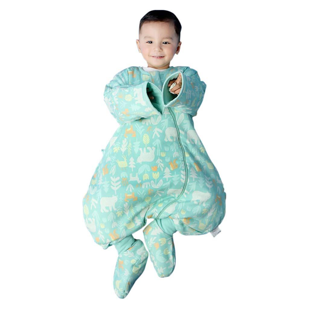 HUYP 赤ちゃんの寝袋足の毛布ラップ毛布アンチキックスプリット脚取り外し可能なスリーブ男の子と女の子 (色 : Green C-quilted, サイズ さいず : 80 yards) 80 yards Green C-quilted B07NV8NNVN