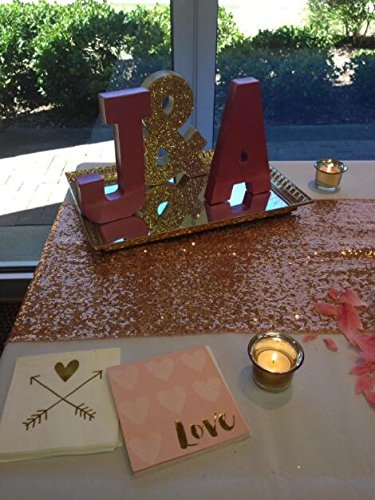 LQIAO Glitter 18PCS 14x108in-Sequin Table Runner-Sparkly Wedding Party Dining Kitchen Table Linens DIY, Rose Gold