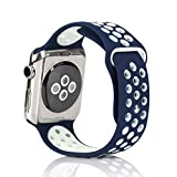 Bemorcabo Replacement Bands for Apple Watch, Silicone Smart Watch Bracelet Strap, Sport Style Wristband, for iWatch 38mm or 42mm Both Series 1 and Series 2