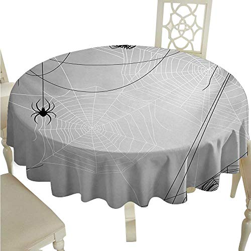 cashewii Spider Web Round Polyester Tablecloth Spiders Hanging from Webs Halloween Inspired Design Dangerous Cartoon Icon Waterproof/Oil-Proof/Spill-Proof Tabletop Protector D54 Grey Black White -