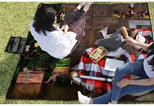 Olie Cam Coperta da Picnic Decorata per Interni di Natale con Tappetino da Picnic Pieghevole Resistente alla Sabbia, trasportabile a Mano