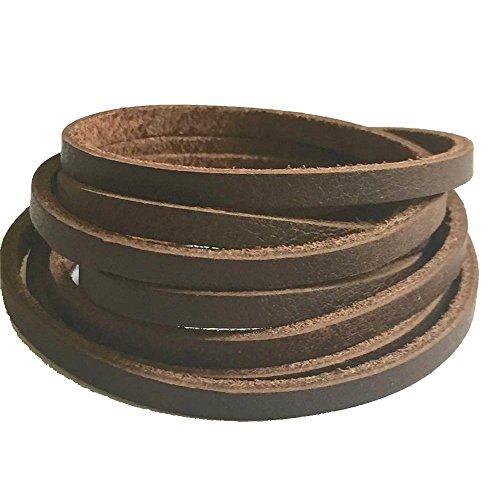 39'' Flat Genuine Rawhide Leather Strip Cord String for DIY Men Necklace Bracelet Craft (Dark Brown - 1pc) ()