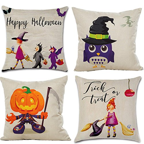HOSL PW03 4-Pack Happy Halloween Cotton Linen Square Decorative Sofa Throw Pillow Case Cushion Cover Spider Cat Pumpkin