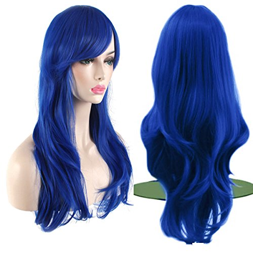 AKStore Women's Heat Resistant 28-Inch 70cm Long Curly Hair Wig with Wig Cap, Blue]()
