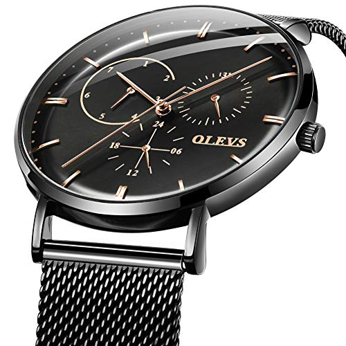 Watches for Men Stainless Steel Black Milanese Watch Band with Black dial Multifunction Cool and Fashion Wrist Watch S-G5880GH