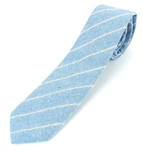 (Men's Linen Cotton Skinny Necktie Tie Light Beige/White/Brown Pinstripe Pattern - Sky Blue)