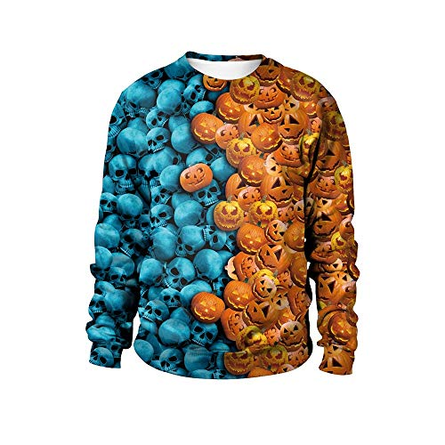 kaifongfu Women's Halloween Sweatshirt Pumpkin Print Pullover Top Blouse (Blue,L) -