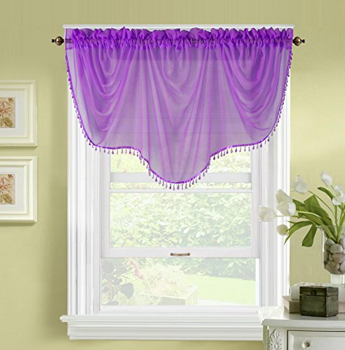 - GorgeousHomeLinen (BONITA) 1 Elegant Sheer Rod Pocket Swag Waterfall Window Valance, Decorative Crystal Bead Fringe Trim, 55