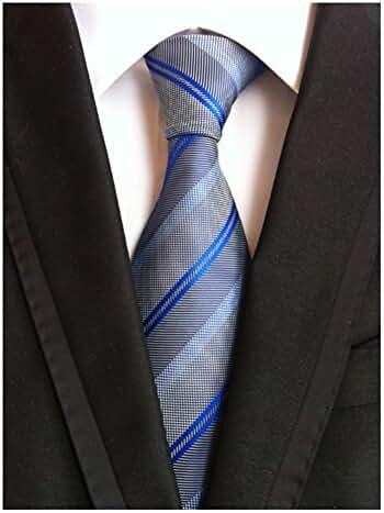 MINDENG Fine Lines Gray Blue Jacquard Woven 100% Silk Men's Tie Wedding Necktie