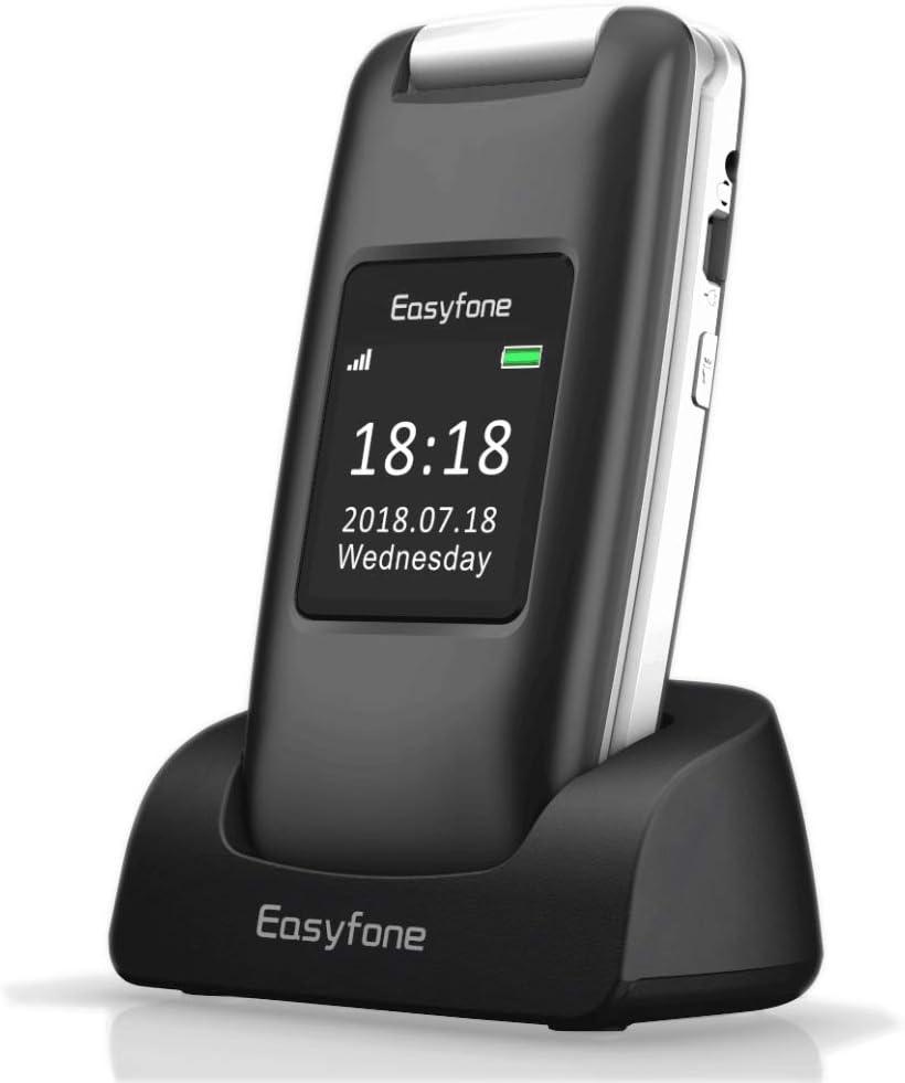 Easyfone Prime A1 3G Flip Teléfono para Personas Mayores, Audífonos Compatibles, Teclas Grandes, Cámara de 2.0MP, Fácil de Usar Celular para Ancianos con SOS (Negro)