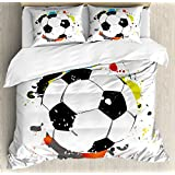 Lunarable Boy's Room Duvet Cover Set Queen Size, Abstract Grunge Soccer Ball in Rainbow Colors Game Hobby Activity, Decorative 3 Piece Bedding Set with 2 Pillow Shams, Black White Multicolor