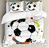 Boy's Room Queen Size Duvet Cover Set by Lunarable, Abstract Grunge Soccer Ball in Rainbow Colors Game Hobby Activity, Decorative 3 Piece Bedding Set with 2 Pillow Shams, Black White Multicolor