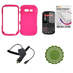 GTMax Hot Pink Snap on Rubberized Hard Cover Case + Clear LCD Screen Protector + Micro USB Car Charger + Green Cup Pad for Pantech Caper TXT8035